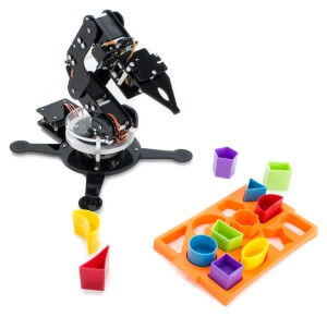 Maximo robot arm with a colorful shape puzzle